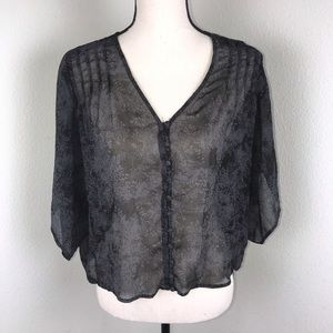 Urban Outfitters Kimchi Black/Gray Sheer Top Sz S